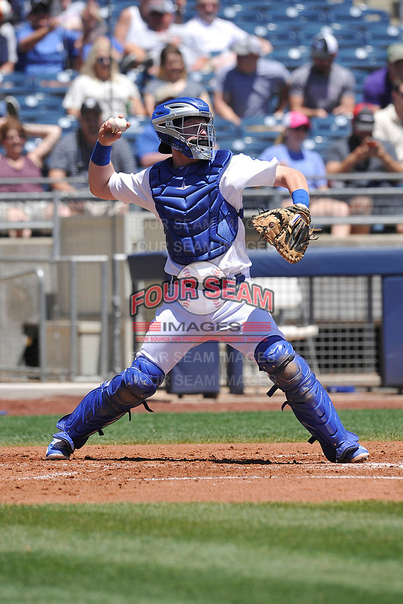 Tulsa Drillers catcher Paul Hoenecke (14) throws to second base during a game against the Arkansas Travelers at Oneok Field on May 21, 2017 in Tulsa, Oklahoma.  The Drillers won 13-6. (Dennis Hubbard/Four Seam Images)