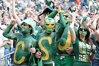SEPTEMBER 17, 2011:    Colorado State Rams superfans with body paint and a painted Iron Man mask cheer their team  during an inter-conference game between the Colorado State Rams and the University of Colorado Buffaloes at Sports Authority Field at Mile High Field in Denver, Colorado. The Buffaloes led 14-7 at halftime*****For editorial use only*****