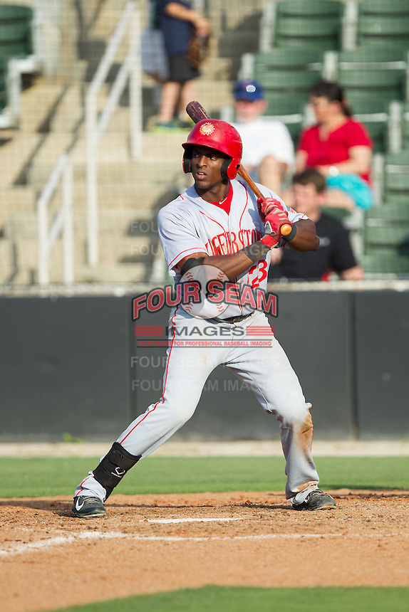 Isaac Ballou (23) of the Hagerstown Suns at bat against the Kannapolis Intimidators at CMC-Northeast Stadium on May 31, 2014 in Kannapolis, North Carolina.  The Intimidators defeated the Suns 3-2 in game one of a double-header.  (Brian Westerholt/Four Seam Images)