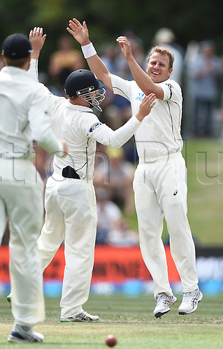 22.02.2016. Christchurch, New Zealand.  Neil Wagner is congratulated by team mates after taking 6 wickets on Day 3 of the 2nd test match. New Zealand Black Caps versus Australia. Hagley Oval in Christchurch, New Zealand. Monday 22 February 2016.