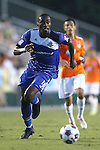 16 August 2014: Edmonton's Tomi Ameobi (ENG). The Carolina RailHawks played FC Edmonton at WakeMed Stadium in Cary, North Carolina in a 2014 North American Soccer League Fall Season match. Edmonton won the match 3-2.