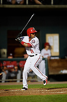 Harrisburg Senators second baseman Osvaldo Abreu (11) at bat during a game against the Erie SeaWolves on August 29, 2018 at FNB Field in Harrisburg, Pennsylvania.  Harrisburg defeated Erie 5-4.  (Mike Janes/Four Seam Images)