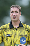 19 August 2014: Referee Mark Kadlecik. The Duke University Blue Devils hosted the Radford University Highlanders at Koskinen Stadium in Durham, NC in a 2014 NCAA Division I Men's Soccer preseason match.