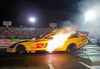 Oct 16, 2015; Ennis, TX, USA; NHRA funny car driver Del Worsham during qualifying for the Fall Nationals at the Texas Motorplex. Mandatory Credit: Mark J. Rebilas-USA TODAY Sports