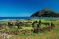 An Hawaiian religious ritual sight near Makapuu Beach Park on the windward side of Oahu.  Makapuu point in background.