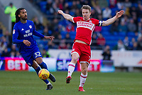 Armand Traore of Cardiff City and Grant Leadbitter of Middlesbrough during the Sky Bet Championship match between Cardiff City and Middlesbrough at the Cardiff City Stadium, Cardiff, Wales on 17 February 2018. Photo by Mark Hawkins / PRiME Media Images.