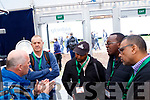 Fergus O'Meara, International sales manager with Dairymaster, speaking to a delegation of Kenyan agriculture officials at the ploughing championships in Tullamore last Tuesday.