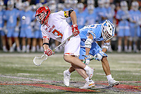 College Park, MD - April 27, 2019: Maryland Terrapins Justin Shockey (3) gets the ball during the game between John Hopkins and Maryland at  Capital One Field at Maryland Stadium in College Park, MD.  (Photo by Elliott Brown/Media Images International)