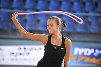 Daria Dmitrieva of Russia performs with rope during training day at 2010 Holon Grand Prix at Holon, Israel on September 2, 2010.  (Photo by Tom Theobald).