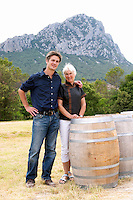 Yves Orliac, son of Jean and Marie-Therese Orliac, with his mother Domaine de l'Hortus. The Pic St Loup mountain top peak. Pic St Loup. Languedoc. Owner winemaker. France. Europe.
