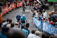 Jakob Fuglsang (DEN/Astana) and  Julian Alaphilippe (FRA/Deceuninck Quick Step) leading the race with only 200m from the finish<br /> <br /> 83th Flèche Wallonne 2019 (1.UWT)<br /> 1 Day Race: Ans – Huy 195km<br /> <br /> ©kramon