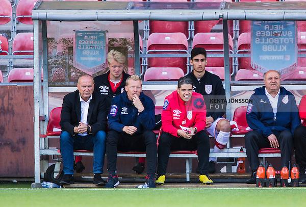 S&ouml;dert&auml;lje 2014-06-07 Fotboll Superettan Assyriska FF - IK Sirius :  <br /> Assyriskas tr&auml;nare S&ouml;ren &Aring;keby och Assyriskas assisterande tr&auml;nare Fredrik Samuelsson p&aring; avbytarb&auml;nken under matchen<br /> (Foto: Kenta J&ouml;nsson) Nyckelord:  Assyriska AFF S&ouml;dert&auml;lje Fotbollsarena Hammarby Sirius IKS portr&auml;tt portrait tr&auml;nare manager coach