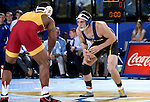 BROOKINGS, SD - NOVEMBER 4:  Collin Holler from South Dakota State battles Renaldo Rodriguez-Spencer from Iowa State in their 157 pound match Friday evening at Frost Arena in Brookings. (Photo by Dave Eggen/Inertia)