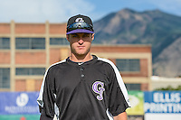Tyler Nevin (6) of the Grand Junction Rockies poses for a photo before the game against the Ogden Raptors in Pioneer League action at Lindquist Field on July 6, 2015 in Ogden, Utah. Ogden defeated Grand Junction 8-7.(Stephen Smith/Four Seam Images)