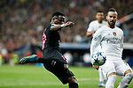 Real Madrid´s Jese Rodriguez (R) and Paris Saint-Germain´s Serge Aurier during Champions League soccer match between Real Madrid  and Paris Saint Germain at Santiago Bernabeu stadium in Madrid, Spain. November 03, 2015. (ALTERPHOTOS/Victor Blanco)