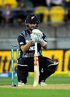 NZ's Daryl Mitchell prepares to bat during the international Twenty20 cricket match between NZ Black Caps and India at Westpac Stadium in Wellington, New Zealand on Wednesday, 6 February 2019. Photo: Dave Lintott / lintottphoto.co.nz