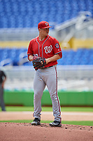 Washington Nationals pitcher Wil Crowe (69) gets ready to deliver a pitch during a Florida Instructional League game against the Miami Marlins on September 26, 2018 at the Marlins Park in Miami, Florida.  (Mike Janes/Four Seam Images)