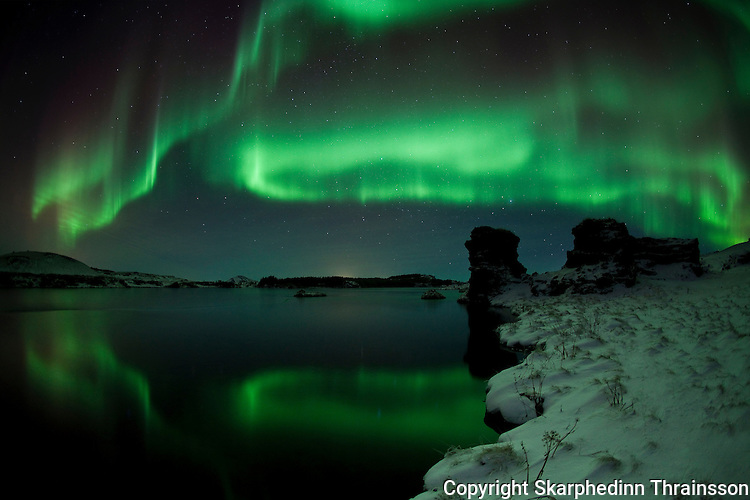 Aurora borealis over lake Myvatn, north Iceland