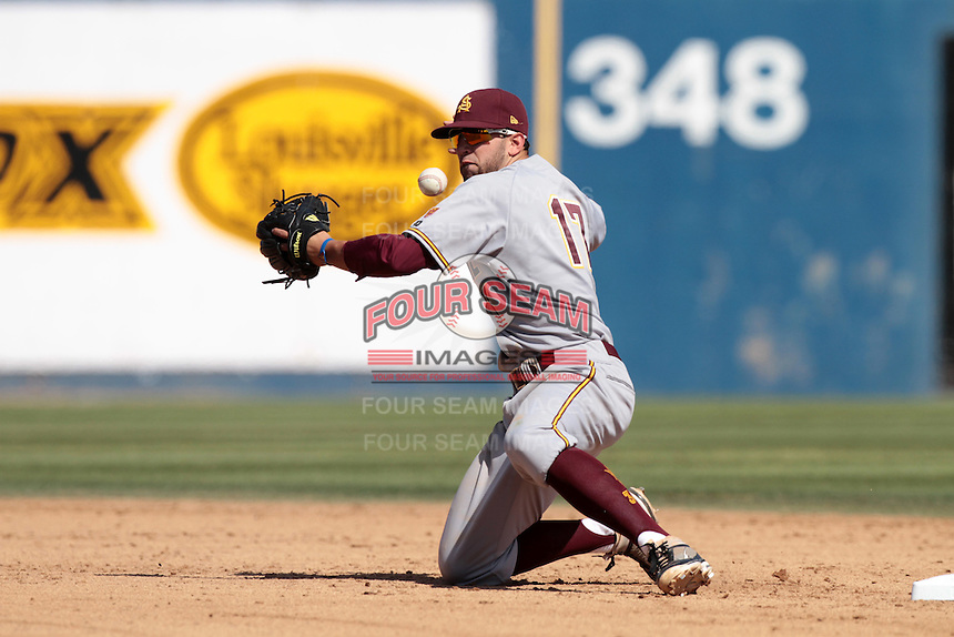 Deven Marrero #17 of the Arizona State Sun Devils juggles the ball while throwing to first base during a game against the Long Beach State Dirtbags at Blair Field on March 11, 2012 in Long Beach,California. Arizona State defeated Long Beach State 6-1.(Larry Goren/Four Seam Images)