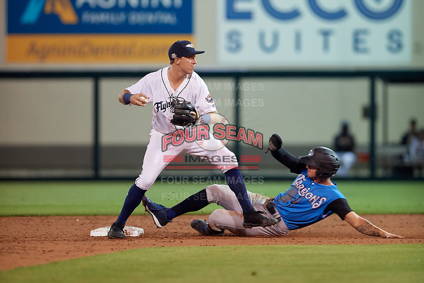 Lakeland Flying Tigers second baseman Kody Clemens (8) turns a double play after forcing out Pablo Olivares sliding in during a Florida State League game against the Tampa Tarpons on April 5, 2019 at Publix Field at Joker Marchant Stadium in Lakeland, Florida.  Lakeland defeated Tampa 5-3.  (Mike Janes/Four Seam Images)