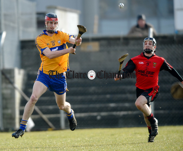 Clare's Darach Honan during their Division 2 National League game at Cusack park. Photograph