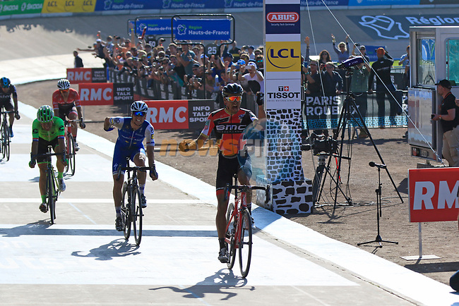 Greg Van Avermaet (BEL) BMC Racing outsprints Zdenek Stybar (CZE) Quick-Step Floors and Sebastian Langeveld (NED) Cannondale-Drapac to win in the old Velodrome in Roubaix at the end of the 115th edition of the Paris-Roubaix 2017 race running 257km Compiegne to Roubaix, France. 9th April 2017.<br /> Picture: Eoin Clarke   Cyclefile<br /> <br /> <br /> All photos usage must carry mandatory copyright credit (&copy; Cyclefile   Eoin Clarke)
