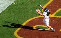 Nov. 28, 2009; Tempe, AZ, USA; Arizona Wildcats running back (2) Keola Antolin celebrates after running for a first quarter touchdown against the Arizona State Sun Devils at Sun Devil Stadium. Mandatory Credit: Mark J. Rebilas-