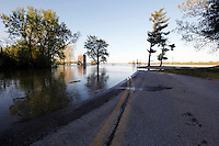 Mississippi River floodwater is receding from Cape Rock Park in Cape Girardeau, MO, on Wednesday, May 4, 2011.