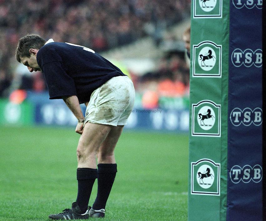 Photo. Richard Lane.Gary Armstrong sums up Scotlands feelings. Wales 19 v's Scotland 13 at Wembley. 7/3/98.