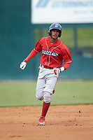 Daniel Brito (21) of the Lakewood BlueClaws rounds the bases after hitting a home run against the Kannapolis Intimidators at Kannapolis Intimidators Stadium on April 8, 2018 in Kannapolis, North Carolina.  The Intimidators defeated the BlueClaws 4-3 in game two of a double-header.  (Brian Westerholt/Four Seam Images)
