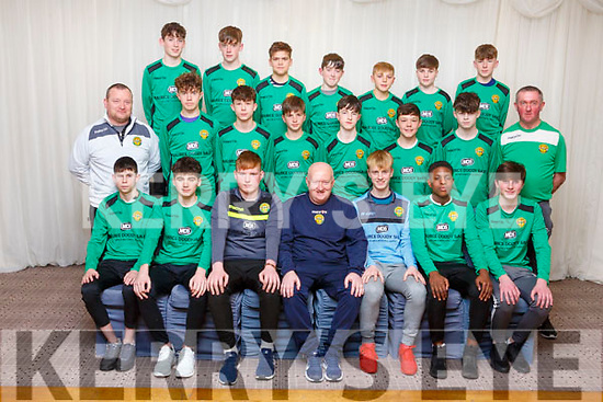 Kerry U15 Soccer Squad<br /> Seated l to r: Cianan Cooney, Lorcan Murphy, Greg McInnings, Danny Diggins (Manager), Liam Carmody, Samuel Aladesanusi, Oisin Wolfe.<br /> 2nd row l to r: Joby Costelloe (Goalkeeping Coach), Darragh O&rsquo;Grady, Emmet Richter, Tom Whittleton, Andy Rogers, Conor Kerins, AJ Behan and Jimmy Clancy (Coach). <br /> Back row l to r: Sean Hill, Sean O&rsquo;Connell, Roko Rujevtan, Darragh O&rsquo;Shea, Ronan Teahan, Colin Doody, Oisin Collins,