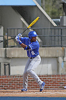 University of Kentucky Wildcats second baseman JaVon Shelby (5) at bat during a game against the Ball State Cardinals at Brooks Field on the campus of University of North Carolina-Wilmington on February 13, 2015 in Wilmington, North Carolina. Kentucky defeated Ball State 11-7. (Robert Gurganus/Four Seam Images)