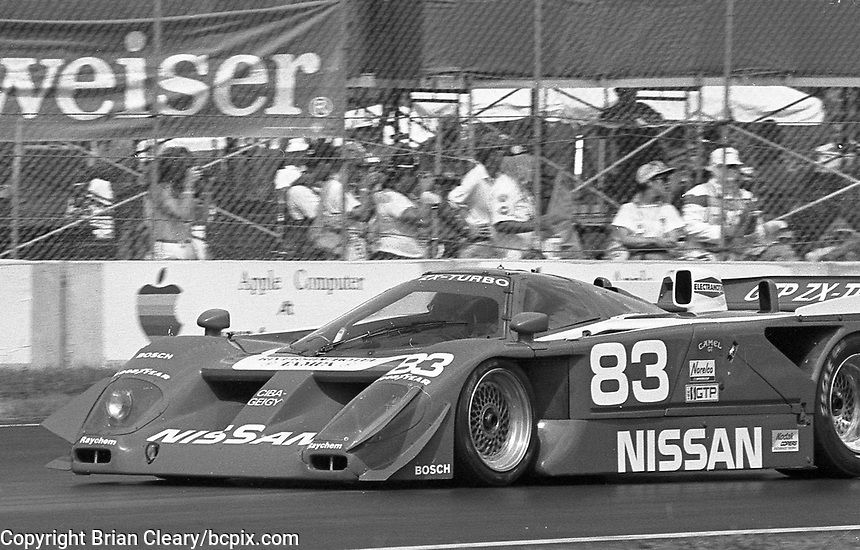 The #83 Nissan GTP ZX-T of Geoff Brabham races through a turn during the IMSA GTP/Lights race at the Florida State Fairgrounds on the way to a 6th place finish in Tampa, FL, October 1, 1989. (Photo by Brian Cleary/www.bcpix.com)