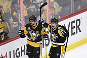 8th June 2017, Pittsburgh, PA, USA; Pittsburgh Penguins left wing Conor Sheary (43) celebrates is goal with Pittsburgh Penguins center Jake Guentzel (59) during the second period in Game Five of the 2017 NHL Stanley Cup Final between the Nashville Predators and the Pittsburgh Penguins on June 8, 2017, at PPG Paints Arena