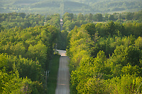 A gravel road leads over the hilly landscape around the Beaver Valley in summer.