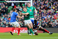 Sunday10th March 2019 | Ireland vs France<br /> <br /> Garry Ringrose is talked by Demba Bamba and Antoine Dupont during the Guinness 6 Nations clash between Ireland and France at the Aviva Stadium, Lansdowne Road, Dublin, Ireland. Photo by John Dickson / DICKSONDIGITAL