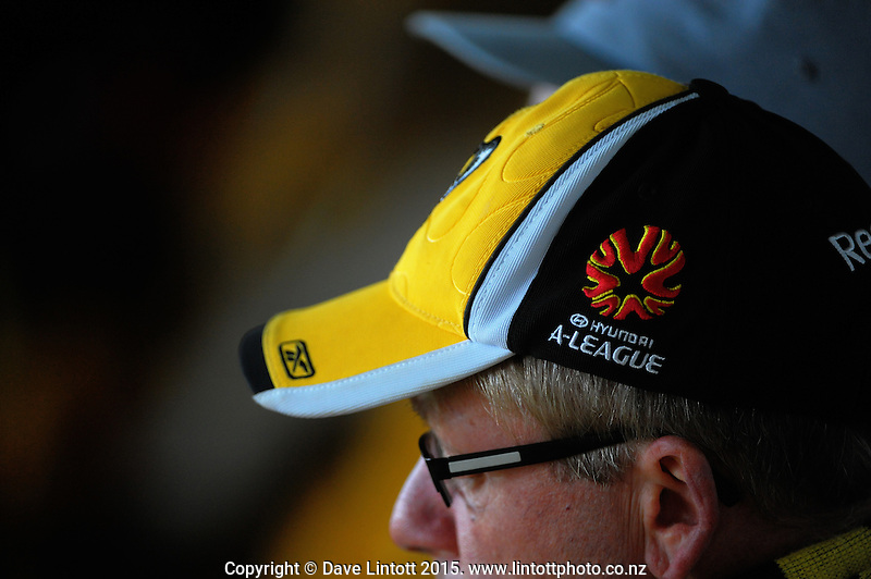 Fans watch from the grandstand during the A-League football match between Wellington Phoenix and Adelaide United at Westpac Stadium, Wellington, New Zealand on Friday, 13 November 2015. Photo: Dave Lintott / lintottphoto.co.nz