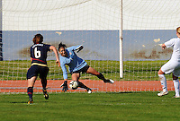 Hope Solo saves her first of two penalty kicks vs. Iceland.  The USWNT defeated Iceland (2-0) at Vila Real Sto. Antonio in their opener of the 2010 Algarve Cup on February 24, 2010.