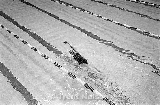 Karnaki Nolan swimming at the Deseret Gym. &quot;It's a big loss to me, we haven't lived here for a long time. I don't know what I'm going to do. For swimming there's no place like it. Most of us have surrendered, and are trying to find a new place. I just can't believe they're going to knock down this building.&quot;<br />
