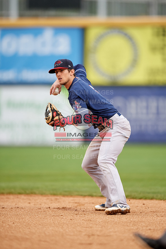 New Hampshire Fisher Cats second baseman Cavan Biggio (6) throws to first base during the second game of a doubleheader against the Harrisburg Senators on May 13, 2018 at FNB Field in Harrisburg, Pennsylvania.  Harrisburg defeated New Hampshire 2-1.  (Mike Janes/Four Seam Images)