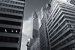 The Chrysler Building in Manhattan, New York City, in black and white.
