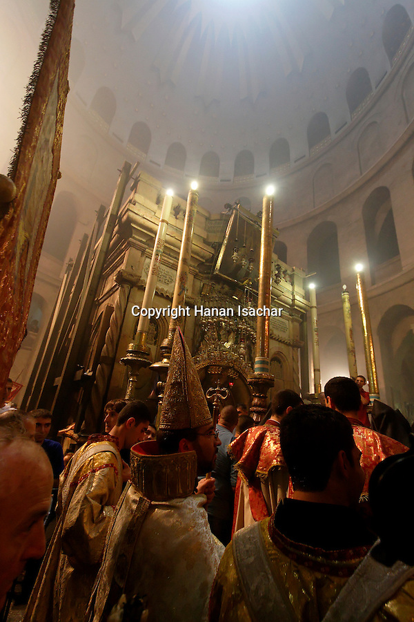 Israel, Jerusalem Old City, the Armenian Orthodox procession after the Ceremony of the Holy Light at the Church of the Holy Sepulchre on Holy Saturday. Easter 2005<br />