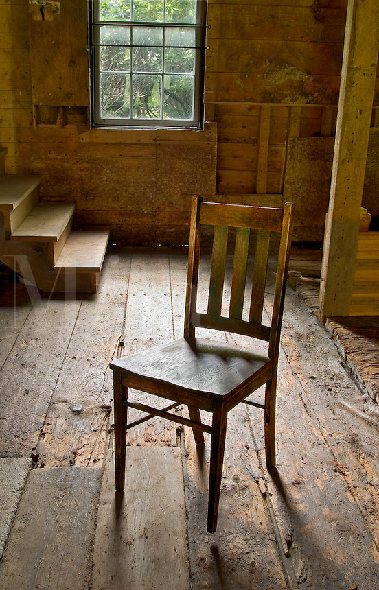 Chair in an old barn at the Fisk Farm, a country inn, in Isle LaMotte, VT.  Lake Champlain Islands.