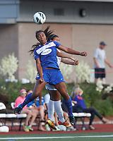 Boston Breakers midfielder Mariah Noguiera (20) and Sky Blue FC midfielder Nayeli Rangel (7) battle for head ball.  In a National Women's Soccer League (NWSL) match, Boston Breakers (blue) defeated Sky Blue FC (white), 3-2, at Dilboy Stadium on June 30, 2013.