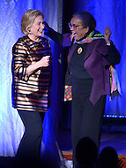 September 30, 2013  (Washington, DC)  Marian Wright Edelman, President of the Children's Defense Fund, welcomes former Secretary of State Hillary Rodham Clinton to the stage at the CDF 40th anniversary celebration at the Kennedy Center's Concert Hall.  (Photo by Don Baxter/Media Images International)