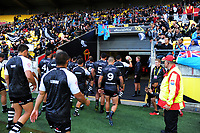 The Kiwis walk in during the 2017 Rugby League World Cup quarterfinal match between New Zealand Kiwis and Fiji Bati at Wellington Regional Stadium in Wellington, New Zealand on Saturday, 18 November 2017. Photo: Dave Lintott / lintottphoto.co.nz