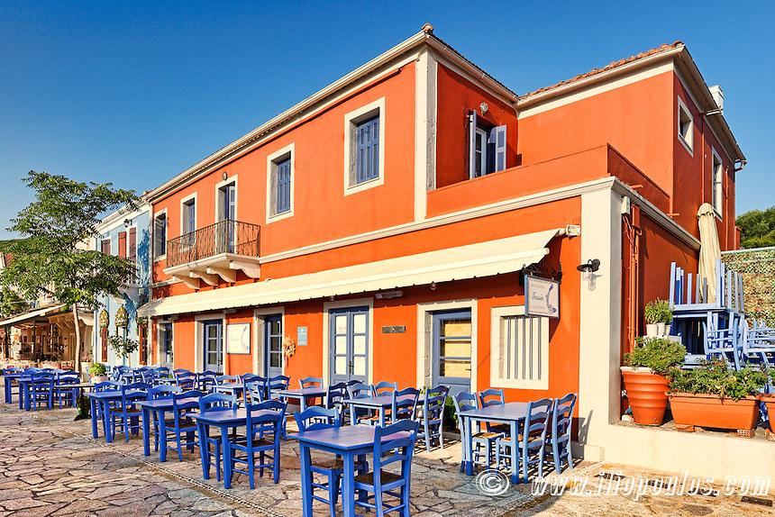 "The famous fish restaurant ""Tassia"" at the port of Fiskardo in Kefalonia island, Greece"