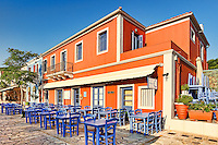 "The famous fish restaurant ""Tassia"" at the port of Fiskardo in Kefalonia island, Greece"