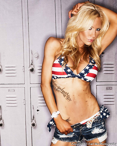 blond, model in red, white, and blue bikini,