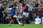 4th November 2017, Villa Park, Birmingham, England; EFL Championship football, Aston Villa versus Sheffield Wednesday; Jacob Butterfield of Sheffield Wednesday and Albert Adomah of Aston Villa compete on the wing for the ball